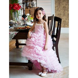 A Line Asymmetrical Flower Girl Dress Organza Sleeveless