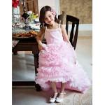 A-line Asymmetrical Flower Girl Dress - Organza Sleeveless Flower Girl Dresses