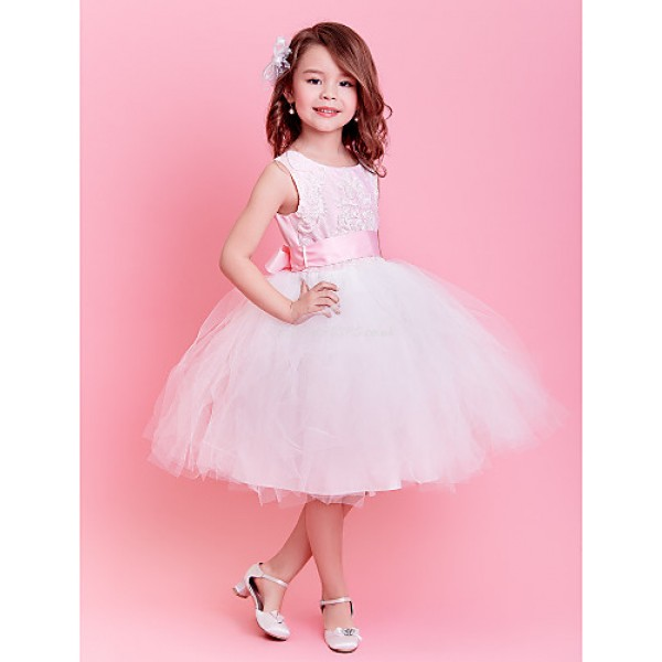 Engagement Party / Formal Evening / First Communion / Wedding Party / Vacation Dress - Blushing Pink Ball Gown Jewel Knee-lengthSatin / Flower Girl Dresses