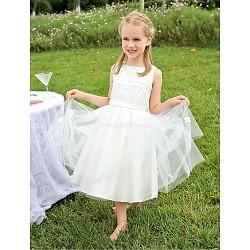 Ball Gown Tea Length Flower Girl Dress Satin Tulle Sleeveless