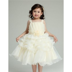 A-line Knee-length Flower Girl Dress - Organza Sleeveless