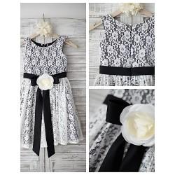 A Line Knee Length Flower Girl Dress Lace Satin Sleeveless