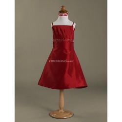 A-line/Princess Knee-length Flower Girl Dress - Satin Sleeveless