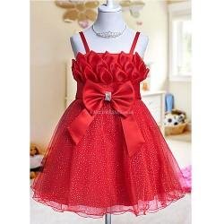 A Line Ball Gown Princess Knee Length Flower Girl Dress Tulle Sleeveless