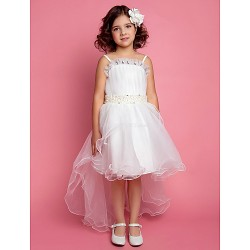 A Line Ball Gown Princess Knee Length Flower Girl Dress Satin Tulle Sleeveless