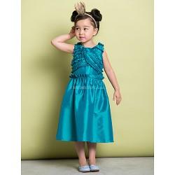 A-line Tea-length Flower Girl Dress - Taffeta Sleeveless