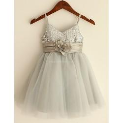 A-line Knee-length Flower Girl Dress - Sequined Sleeveless