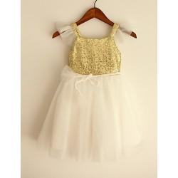 Princess Gold Knee Length Flower Girl Dress Sequined Short Sleeve