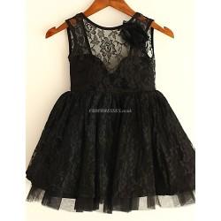 Princess Black Knee-length Flower Girl Dress - Lace Sleeveless