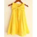 A-line Yellow Knee-length Flower Girl Dress - Linen Sleeveless Flower Girl Dresses