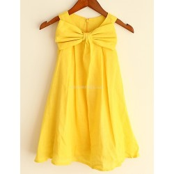 A-line Yellow Knee-length Flower Girl Dress - Linen Sleeveless