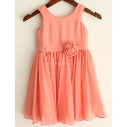 Coral Chiffon Knee Length Flower Girl Dress