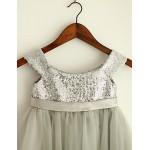 Princess Knee-length Flower Girl Dress - Tulle/Sequined Sleeveless Flower Girl Dresses