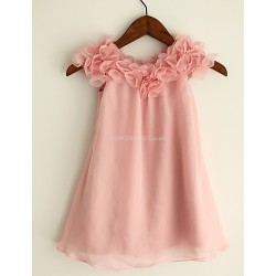 Sheath Column Knee Length Flower Girl Dress Chiffon Short Sleeve
