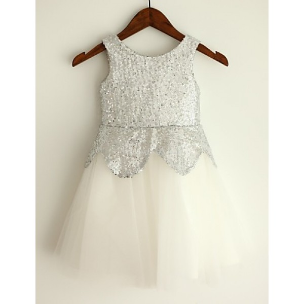 Princess Knee-length Flower Girl Dress - Tulle/Sequined Sleeveless Flower Girl Dresses
