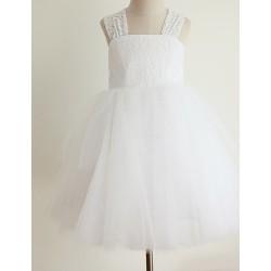 Princess Tea Length Flower Girl Dress Lace Tulle Sleeveless