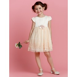 A-line Knee-length Flower Girl Dress - Polyester Short Sleeve