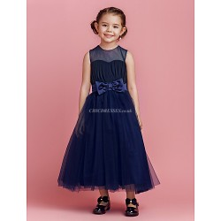 A-line/Princess Ankle-length Flower Girl Dress - Tulle Sleeveless