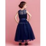 A-line/Princess Ankle-length Flower Girl Dress - Tulle Sleeveless Flower Girl Dresses