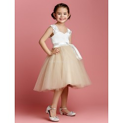 Ball Gown Knee Length Flower Girl Dress Tulle Charmeuse Sleeveless