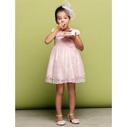 A-line/Princess Short/Mini Flower Girl Dress - Tulle Short Sleeve