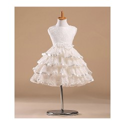 Princess Knee-length Flower Girl Dress - Satin/Tulle Sleeveless