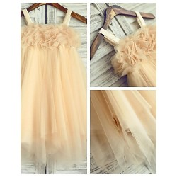 Flower Girl Dress Tea Length Chiffon Tulle A Line Sleeveless Dress