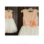 Flower Girl Dress Tea-length Tulle/Sequined A-line Short Sleeve Dress Flower Girl Dresses