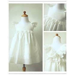 Flower Girl Dress Tea Length Taffeta A Line Short Sleeve Dress