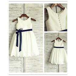 Flower Girl Dress Tea Length Taffeta A Line Sleeveless Dress