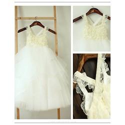 Flower Girl Dress Tea Length Lace Tulle A Line Sleeveless Dress