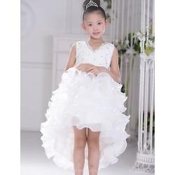 Flower Girl Dress Asymmetrical Organza Ball Gown Sleeveless Dress
