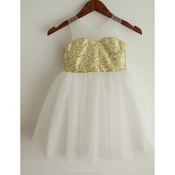 Princess Gold Knee Length Flower Girl Dress Sequined Sleeveless
