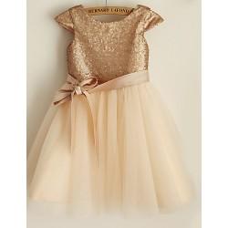 Princess Knee-length Flower Girl Dress - Sequined Short Sleeve