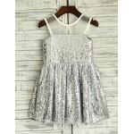 A-line Sheer Illusion Knee-length Flower Girl Dress - Sequined Sleeveless Flower Girl Dresses