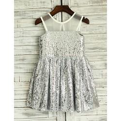 A-line Sheer Illusion Knee-length Flower Girl Dress - Sequined Sleeveless