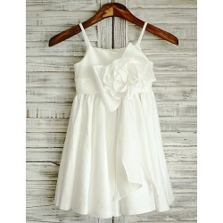 Sheath Ivory Knee Length Flower Girl Dress Taffeta Sleeveless