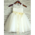 Princess Ivory Knee-length Flower Girl Dress - Lace/Tulle Sleeveless Flower Girl Dresses