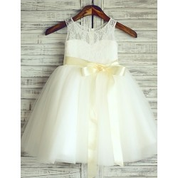 Princess Ivory Knee Length Flower Girl Dress Lace Tulle Sleeveless