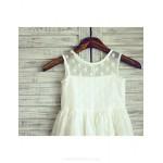 Polka Dots Knee-length Flower Girl Dress - Tulle Sleeveless Flower Girl Dresses