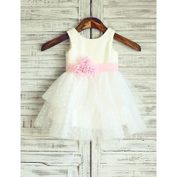 Princess Polka Dots Cupcake Knee Length Flower Girl Dress Cotton Tulle Sleeveless