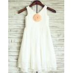 Sheath/Column Knee-length Flower Girl Dress - Chiffon/Lace Sleeveless Flower Girl Dresses