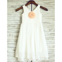 Sheath Column Knee Length Flower Girl Dress Chiffon Lace Sleeveless