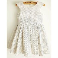 Princess Polka Dot Knee Length Flower Girl Dress Cotton Sleeveless