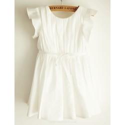 A Line Knee Length Flower Girl Dress Taffeta Short Sleeve