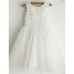 Princess Knee Length Flower Girl Dress Lace Tulle Sleeveless