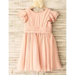 Sheath Peach Knee Length Flower Girl Dress Chiffon Short Sleeve