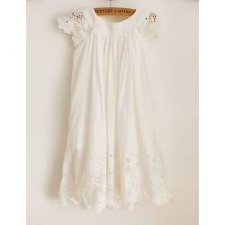 Sheath Knee-length Flower Girl Dress - Cotton/Lace Short Sleeve