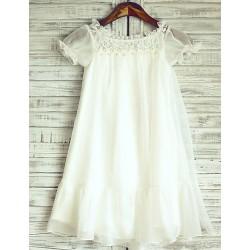 Sheer Ivory Knee Length Flower Girl Dress Chiffon Short Sleeve