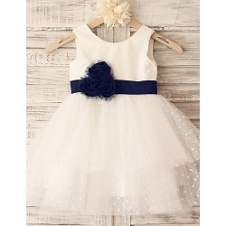 Princess Tiered Knee-length Flower Girl Dress - Cotton/Tulle Sleeveless